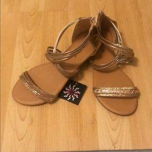 Rose Gold Back Zippered Sandals
